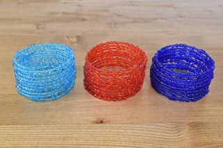 Set of 3 Handmade African Bracelet - Kenya Maasai Jewelry - Africa Gift - Red, Sky Blue, Denim Blue, KB25
