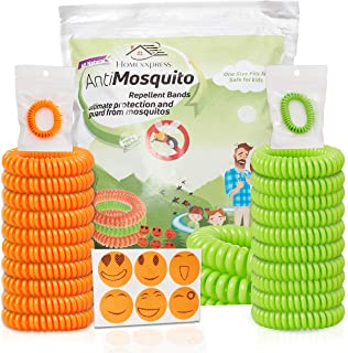 Mosquito Repellent Bracelets -20 Pack Resealable Wristbands[ Up To 350 Hours]24 Patches Give More Protection - 7 Natural Oils - Bug And Insect Spray,Eradicator - Waterproof,DEET-Free - Kid Safe