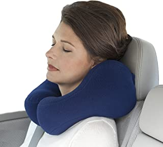 Sunshine Pillows Ergonomic Travel Neck Pillow, Comfortable Neck Support, Perfect for Car Rides, Bus Trips, Train and Airplane Riding Navy Blue, Medium