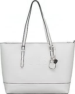 Guess Womens Saffiano Shoulder Tote Handbag - White (Large)