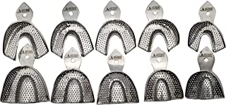 Dental Impression trays 10 Extra Small, Small, medium, large and extra large pairs stainless steel by Wise Linkers USA