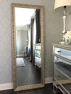 West Frames Bella Ornate Embossed Wood Framed Leaner Floor Mirror (Silver Gold)