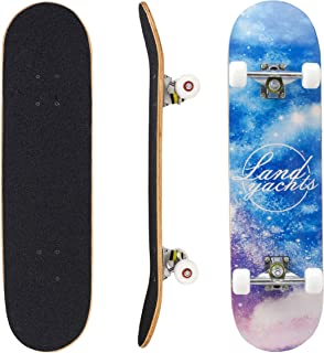 "Geelife Skateboard 7 Layers Decks 31""x8"" Pro Complete Skate Board Maple Wood Longboards for Teens Adults Beginners Girls Boys Kids"