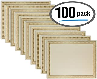 100 Sheet Award Certificate Paper, Gold Foil Metallic Border, Ivory Letter Size Blank Paper, by Better Office Products, Diploma Certificate Paper, Laser and Inkjet Printer Friendly, 8.5 x 11 Inches