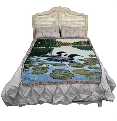 Enchanted Passage Loons - Derk Hanson - Cotton Woven Blanket Throw - Made in The USA (72x54)