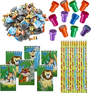 FavonirTM Zoo Stationery Party Favors 84 Gift Pack - 48 Erasers - 12 Animal Notepads - 12 Pencils - 12 Stickers - Kids Par...