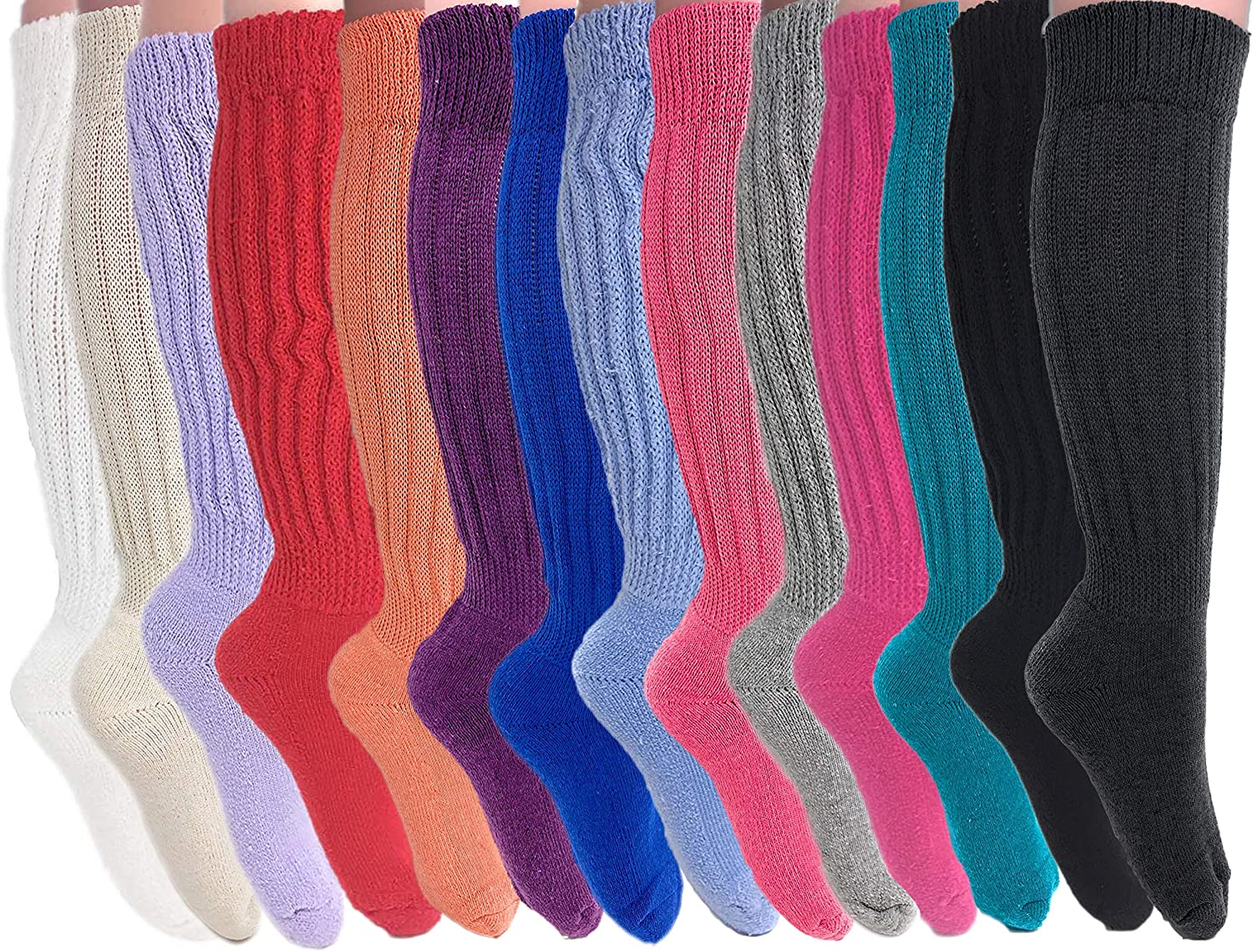 Slouch Socks for Women Cotton 80s Boot Socks 14 PAIRS Size 9 to 11