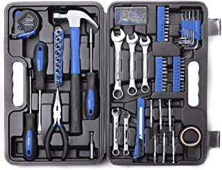 Cartman 148Piece Tool Set General Household Hand Tool Kit with Plastic Toolbox Storage Case Blue