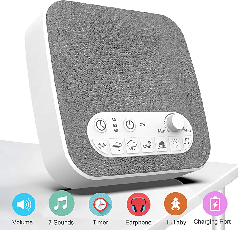 BESTHING White Noise Machine For Sleeping Sleep Sound Machine With Non Looping Soothing Sounds USB Output Charger Adjustable Volume Headphone Jack And Auto Off Timer Portable Sound Therapy