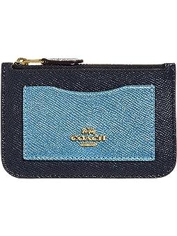 코치 메탈릭 컬러블럭 카드 지갑 (지퍼형, 선물 추천) COACH Metallic Color-Block Zip Top Card Case,Midnight/Multi