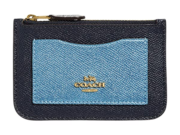 COACH Metallic Color-Block Zip Top Card Case