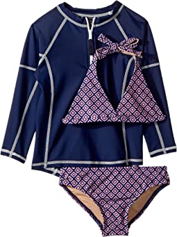 Navy Pink Pattern Bikini & Navy Rashguard Set (Infant/Toddler/Little Kids/Big Kids)