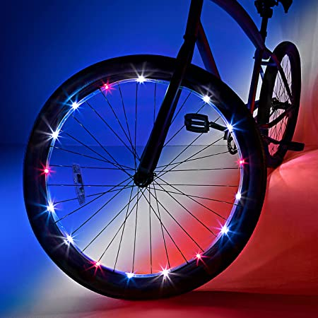 Wheelbrightz LED Bike Wheel Lights – Pack of 2 Lights for Front and Back Tires – Bright Colorful Light for Bicycles – Have Fun – Be Seen – Weather Resistant Tube with Battery Pack