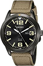 Seiko Men's Beige Nylon Strap Solar Dress Watch
