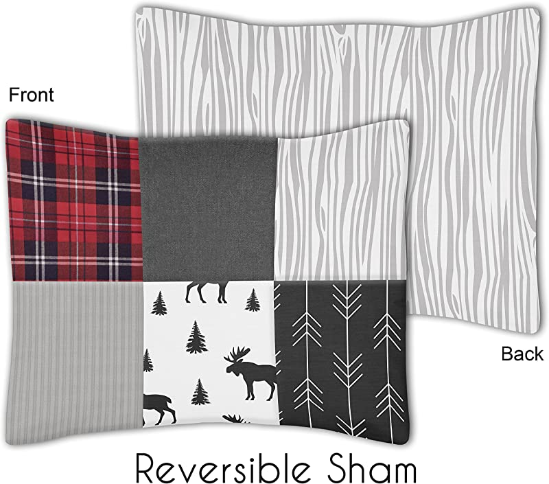 Sweet Jojo Designs Grey Black And Red Woodland Moose And Arrow Standard Pillow Sham For Rustic Patch Collection Plaid Flannel Gray
