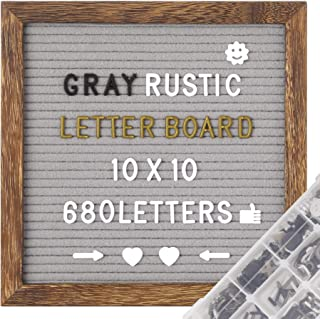 G GAMIT Felt Letter Board in Rustic Wood Frame, Pre-Cut&Sort 680 White&Black&Golden Letters, 10x10 inches Gray Message Board,Word Board &Sign Board with Stand Include Sorting Tray,Wall Mount&Gift Box