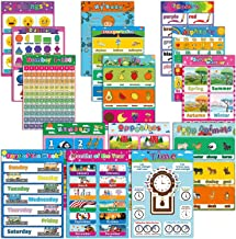 15 Large Educational Preschool Poster for Toddlers and Kids ,Laminated Learning Charts for Kindergarten Nursery Homeschool...