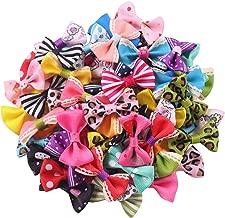 YAKA 60pcs(30pairs) 1.5inch Grosgrain Ribbon Mini Bow Ties Craft Rose Appliques Craft Wedding Hair Bow DIY Decor 30Color (Style1)