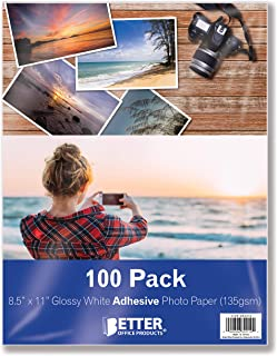 Self-Adhesive Photo Paper, Sticky Photo Paper, Glossy, 8.5 x 11 Inch, 100 Sheets, by Better Office Products, 135 gsm, Lett...