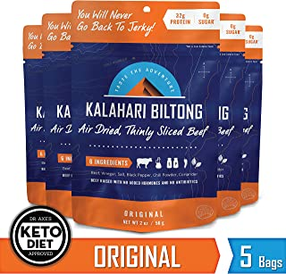 Kalahari Biltong | Air-Dried Thinly Sliced Beef | Original | 2oz (Pack Of 5) | Sugar Free | Keto & Paleo | Gluten Free | Better Than Jerky