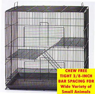 Mcage Three Size, 3 Level with Tight 3/8 Inch Bar Spacing Shelves Ladders for Guinea Pig Ferret Chinchilla Sugar Glider Rats Mice Gerbil Animal Cage