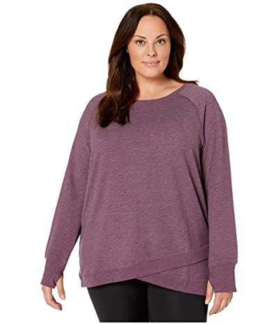 Jockey Active Plus Size R R Crisscross Fleece Tunic (Burgundy Bliss Heather) Women