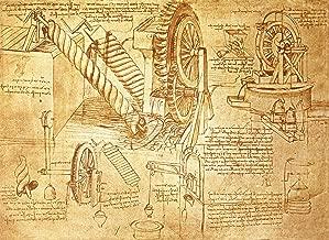 Leonardo da Vinci Facsimile of Codex Atlanticus FOL. 386r: Archimedes Screws and Water Wheels, 1478-1518 Biblioteca Ambrosiana 30
