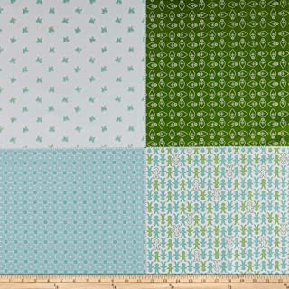 Riley Blake Designs - Cozy Christmas - Lori Holt - Christmas Vintage - Fat Quarter Panel Green - FQP7974-GREEN - 885333113348