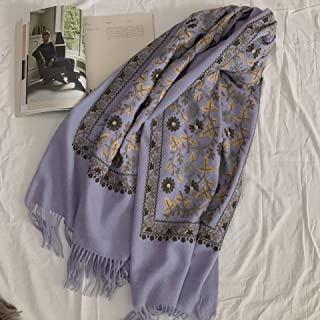 100% Wool Scarf Female Winter Embroidered Ethnic Style Embroidery Nepalese Cashmere Thick Warm Shawl Dual