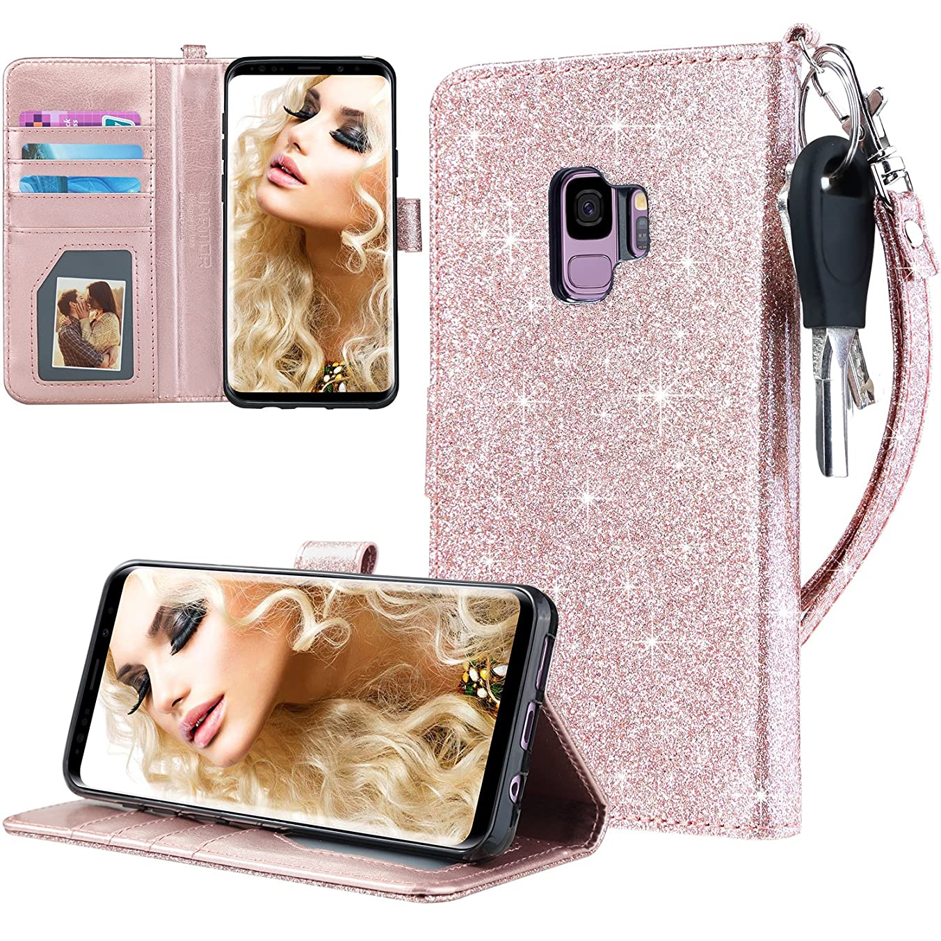 UARMOR Wallet Case for Samsung Galaxy S9, Luxury PU Leather Glitter Bling Sparkle Flip Folio Case with Hand Strap Built-in Credit Card / ID Card Slots and Kickstand Feature Case, Rose Gold