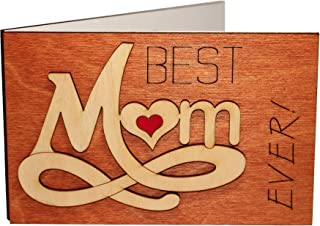 Handmade Real Wood Best Mom Ever Forever Love Inspiring Greeting Card Novelty Happy Birthday Gift Original Get Well Thank You Wooden Present for Mommy Step God Mother from Baby Husband Son Daughter e