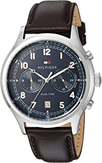 Tommy Hilfiger Men's Casual Sport Stainless Steel Quartz Watch with Leather Strap, Brown, 22 (Model: 1791385