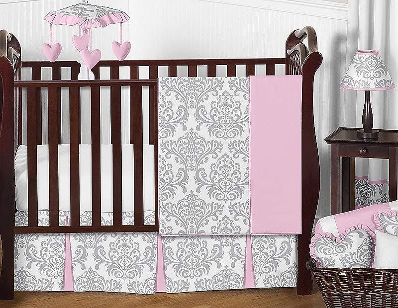 Sweet Jojo Designs 11 Piece Pink Gray And White Elizabeth Baby Girl Bedding Crib Set Without Bumper