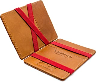 JAIMIE JACOBS ® Magic Wallet Flap Boy Slim - The Original - Slim Wallet, RFID Blocking Wallet, Genuine Leather, Card Wallet, Credit Card Holder, Travel Wallet, Bifold Wallet Men (Cognac with Red)