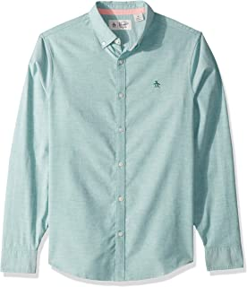 Original Penguin Men's Long Sleeve Core Oxford Button Down Shirt with Stretch