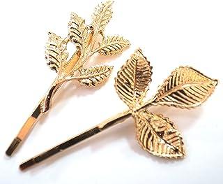 リーフ ゴールド ヘアピン 2個セット 髪留め 髪飾り ヘアアクセサリー 葉っぱ モチーフ [並行輸入品]