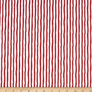 Henry Glass Flannel Winter Whimsy Stripe Red/White Fabric by The Yard
