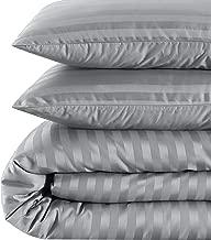 EnvioHome 500 Thread Count Cotton Sateen Damask Stripe Duvet Cover Set - 3 Piece - King, Platinum Grey