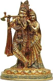 Brass Gift Center Radha Krishna Unique Brass Statue Multicolored Showpiece - 26 cm (Brass Multicolor)
