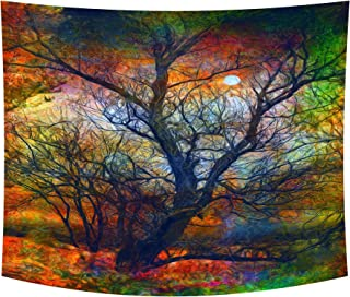 Wamika Colorful Life Tree Tapestry Autumn Moon Landscape Tapestry Wall Hanging Forest Tree of Life Tapestries Hippie Bohemian Boho Tapestry for Bedroom Living Room Home Dorm Decor Wall Art 59