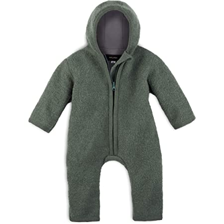 Halfen Wollwalk Overall Baby ideal als Baby Winteroverall Walkoverall aus Bio Natur Schurwolle Farbe: Olive 100/% Made in Germany