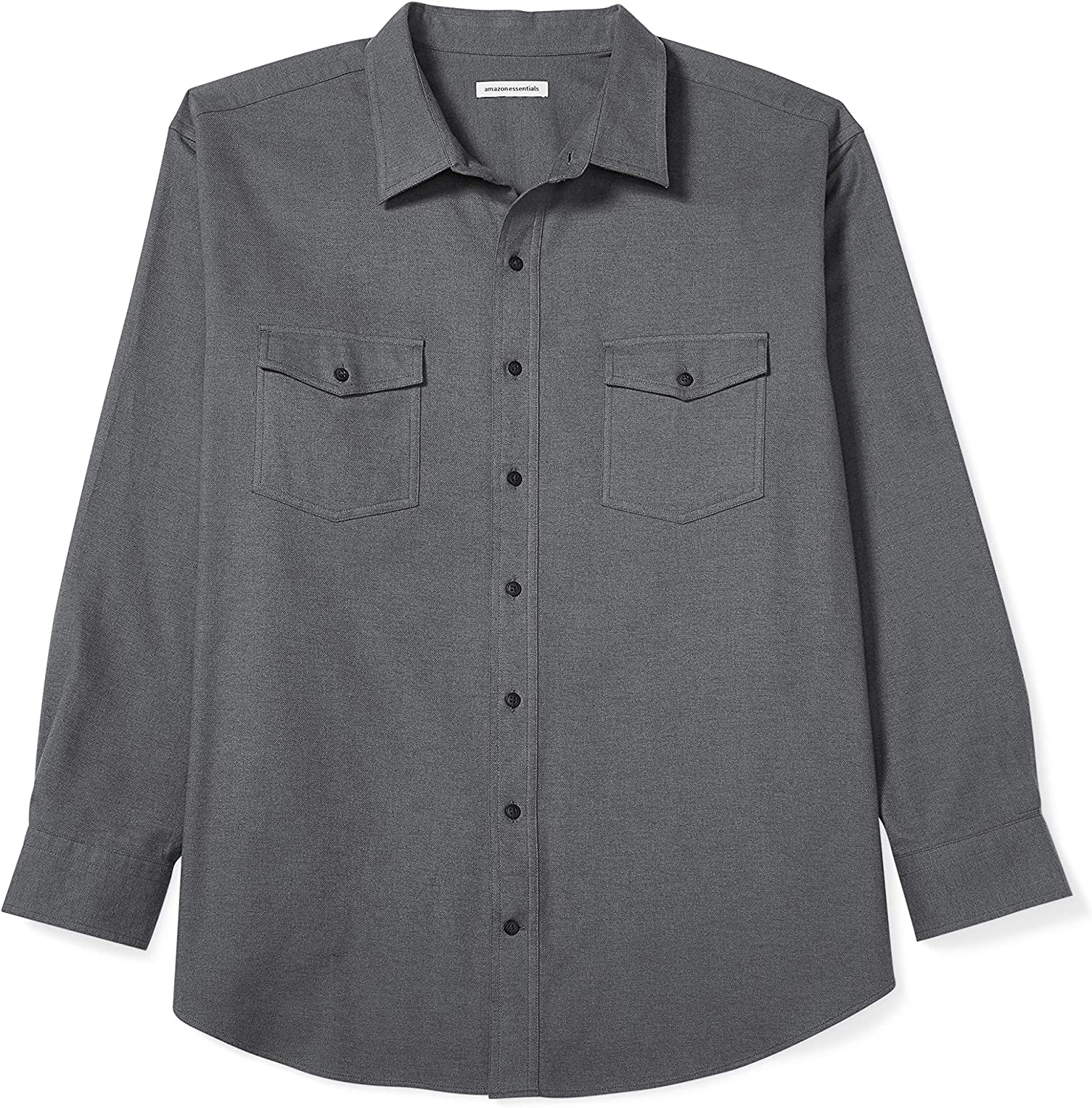 Amazon Essentials Men's Big & Tall Long-Sleeve Solid Flannel Shirt fit by DXL