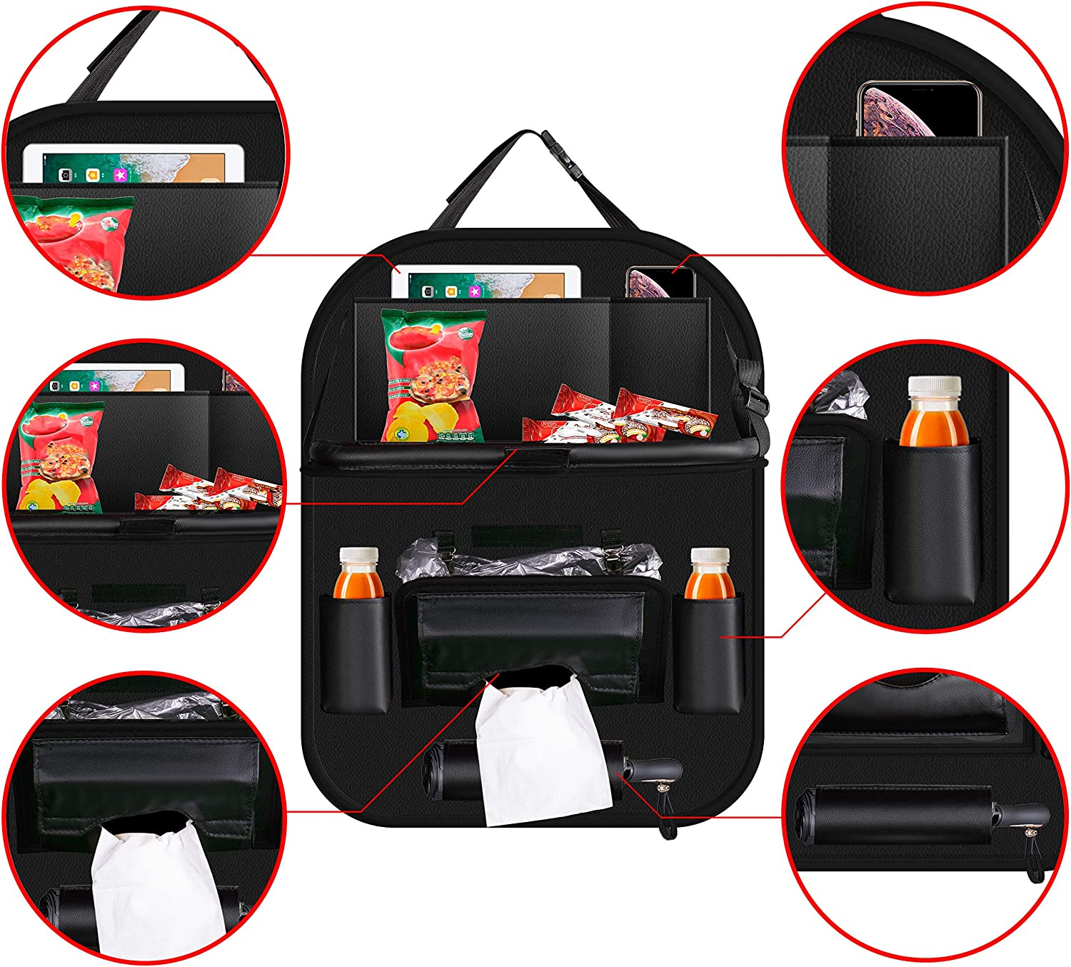 Back Seat Organizers with Tray Leather Holder Storage for Kids Toy Bottle Drink Travel Accessories Waterproof and Durable Black red 2 Pack FLY OCEAN Backseat Car Organizer