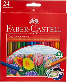 Faber Castell COLOURS OF NATURE COLOUR PENCILS 24 COLOUR IN A CARDBOARD BOX,Assorted designs, 114426