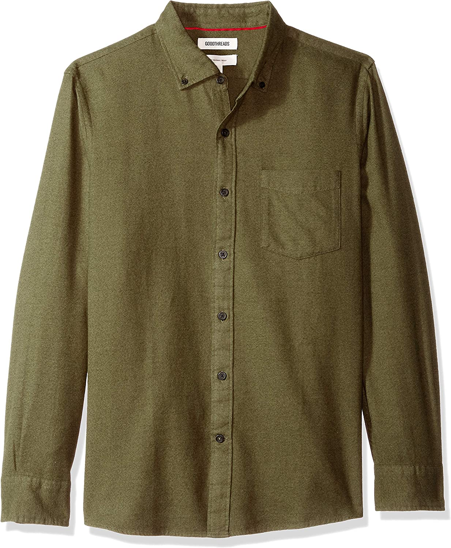 Goodthreads Men's Slim-Fit Long-Sleeve Plaid Brushed Heather Shirt