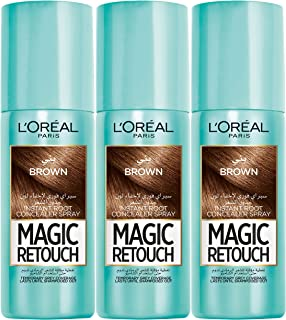 L'OREAL PARIS Magic Retouch 3 SECONDS TO FLAWLESS ROOTS (Dark Brown), Pack of 3