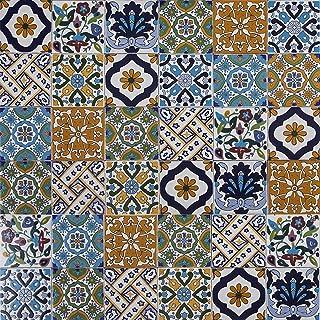 Cerames, baldosas de cerámica tunecina Wati - 50 baldosas decorativas tunecinas orientales de 10 x 10 cm para el baño, la cocina, debajo de las escaleras. Azulejos decorativos de colores.