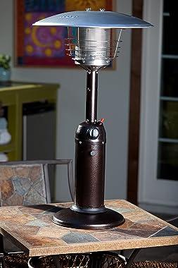 Fire Sense Hammer Tone Bronze Table Top Patio Heater   Uses 1 Pound Propane Tank   10,000 BTU Output   Portable Outdoor Heat