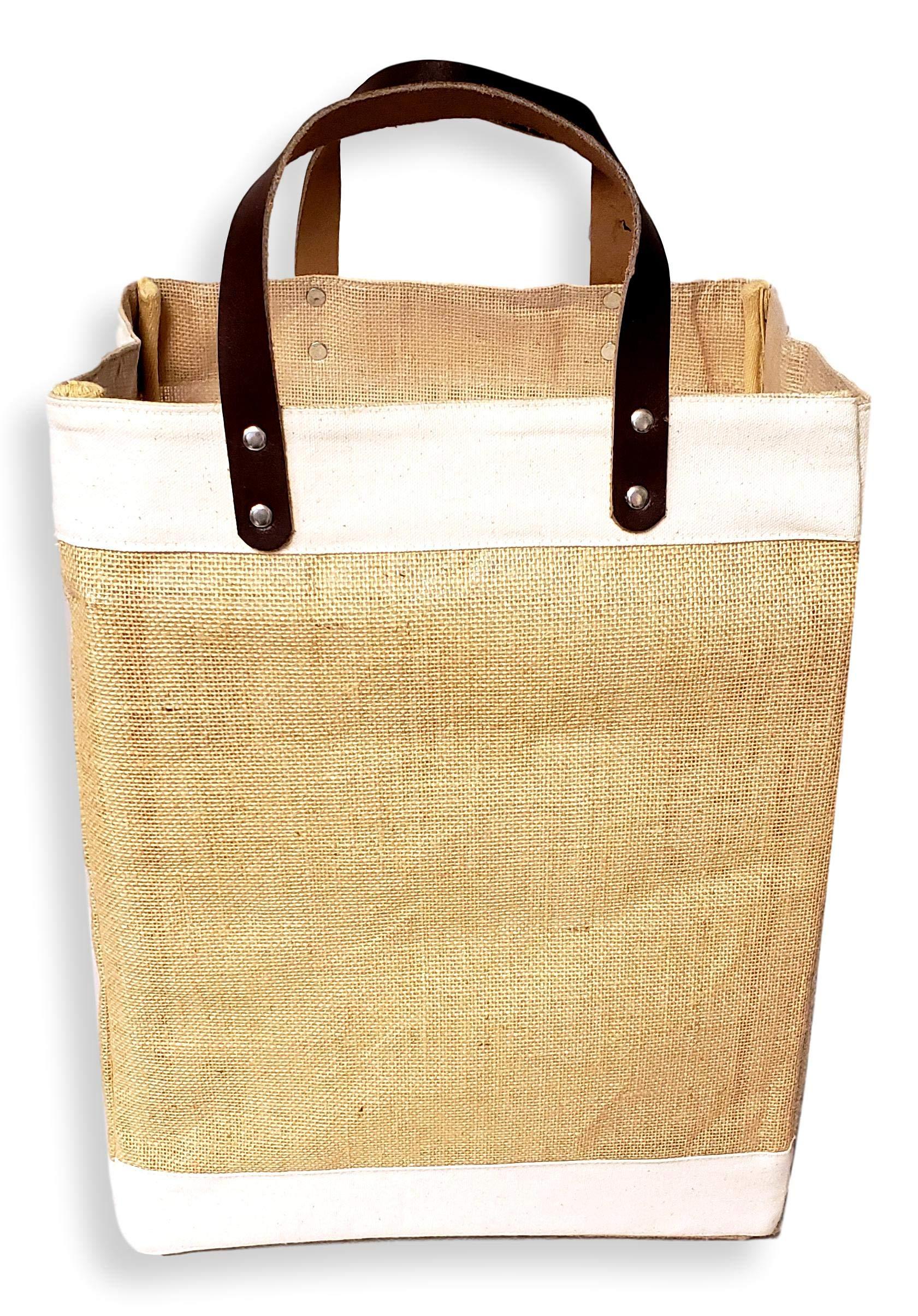Bolsa Grande de Yute y algodón ecológica con asa de Cuero: Amazon ...