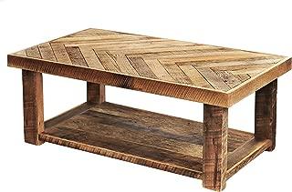 Reclaimed wood herringbone coffee table with bottom shelf